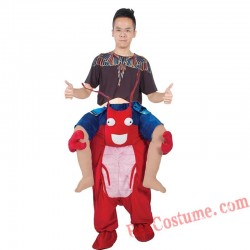 Adult Piggyback Ride On Carry Me Red Lobster Mascot costume