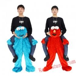 Adult Piggyback Ride On Elmo / COOKIE Sesame Street mascot costume