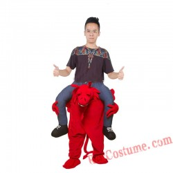 Adult Piggyback Ride On Carry Me Red Dragon Mascot costume