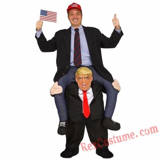Adult Piggyback Ride On Carry Me Donald Trump Mascot costume