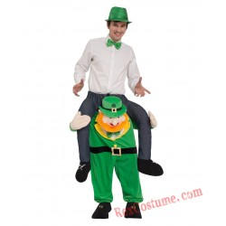 Adult Piggyback Ride On Carry Me Green Elf Mascot costume