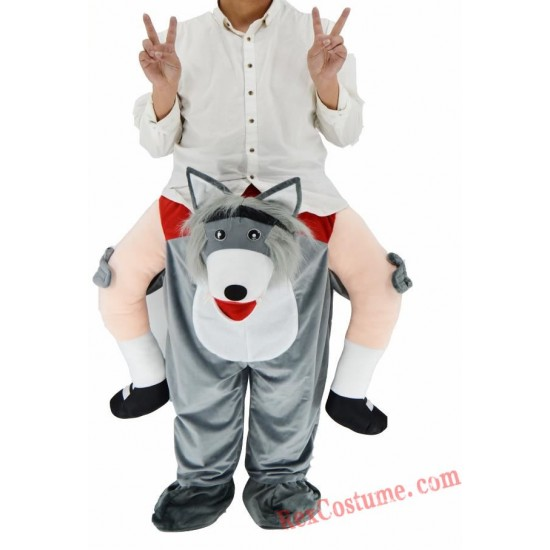 Adult Piggyback Ride On Carry Me Wolf Mascot costume