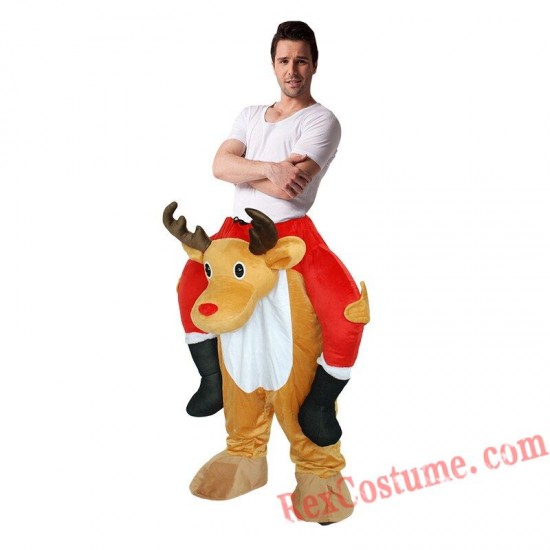 Adult Piggyback Ride On Carry Me Christmas Deer Mascot costume