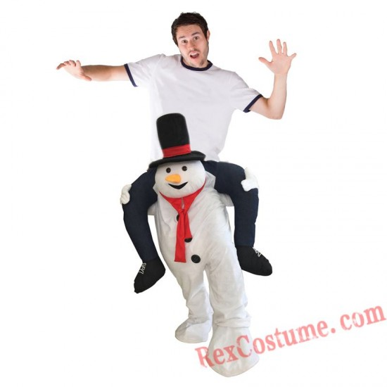 Adult Piggyback Ride On Carry Me Snowman Mascot costume