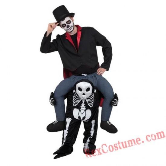 Adult Piggyback Ride On Carry Me Skull Mascot costume